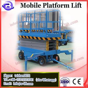 Four Wheel 14 Meters Mobile Scissor Lift , Industrial Scissor Lift Platform 300 Kg Loading