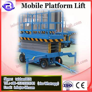 Mobile hydraulic scissor lifting platform with four pneumatic rubber tire