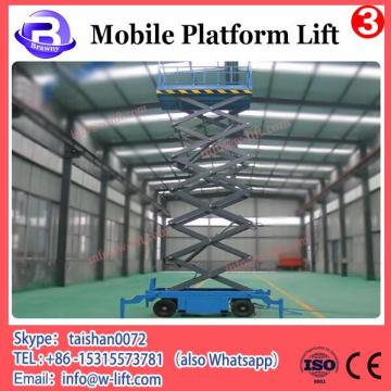 Mobile scissor lift platform with battery charger for outdoor